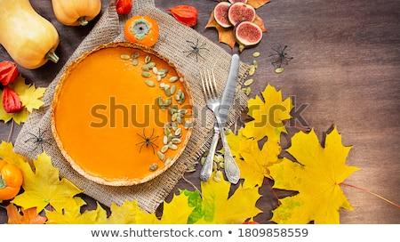 pumpkin on a plate autumn background stock photo © zoryanchik