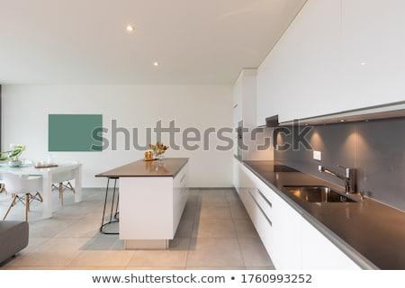 Sala de jantar interior madeira moda casa vidro Foto stock © Paha_L