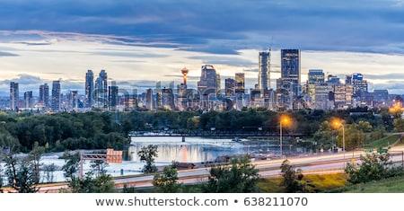 Avond panorama calgary Blauw nacht architectuur Stockfoto © benkrut
