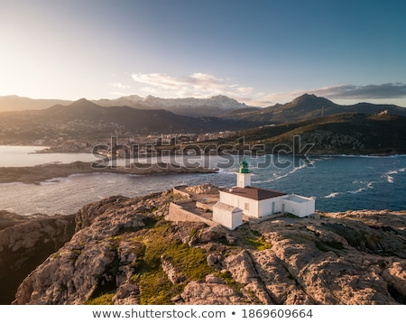 Snow capped mountains in Balagne region of Corsica Stock photo © Joningall