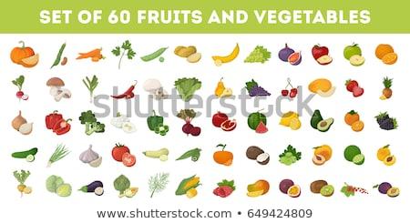 Színes zöldségek ikon gyűjtemény zöld paradicsom főzés Stock fotó © Genestro