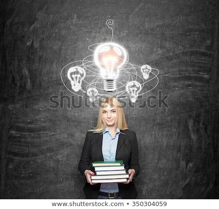 woman with light bulbs circleing around her head stock photo © ra2studio