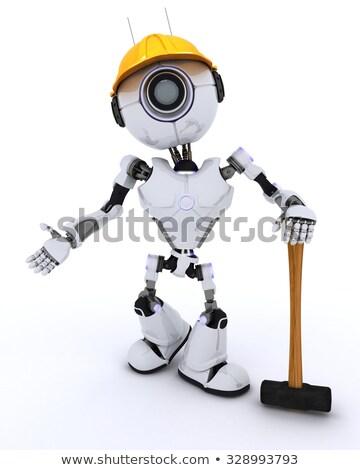 andróide · construtor · 3d · render · homem · construção · martelo - foto stock © kjpargeter