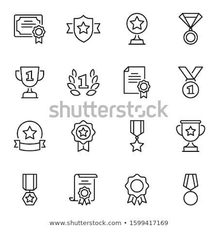 Medalha primeiro lugar linha ícone teia Foto stock © RAStudio