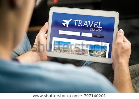 utazás · előre · bejelentkezés · helyszín · folt · illusztráció · laptop - stock fotó © iconify