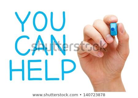 önkéntes kék jelző kéz ír átlátszó Stock fotó © ivelin