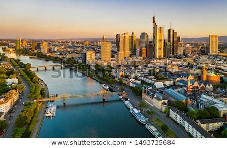 Stock fotó: Panoráma · Frankfurt · délelőtt · fő- · felhőkarcolók · Németország