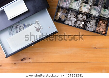 Különálló pénz fiók vmi mellett asztal felső Stock fotó © ozgur