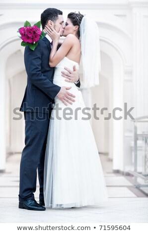 przepiękny · szczęśliwy · ślub · para · piękna · młodych - zdjęcia stock © deandrobot