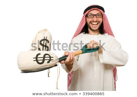 Arab man with money sacks isolated on white Stock photo © Elnur