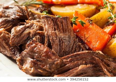 Sığır eti güveç havuç biberiye kış akşam yemeği Stok fotoğraf © M-studio