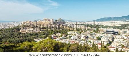 Atenas · linha · do · horizonte · ver · rua · montanha · viajar - foto stock © russwitherington