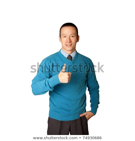 Asian man shows well done Stock photo © deandrobot