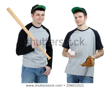 Excited man in baseball cap on white background Stock photo © ozgur