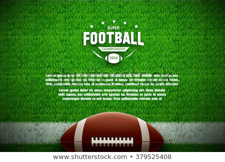 Stock photo: American football banner with line icons of ball, field, player, whistle, helmet and other sport equ