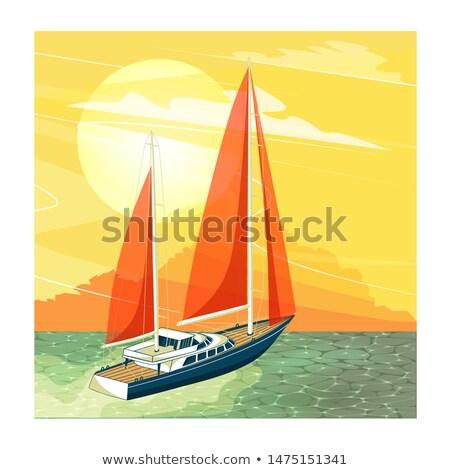 Illustration of cartoon sailing yacht in sunset. Stock photo © Vertyr