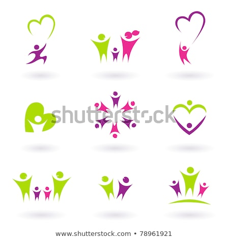 human heart health care colorful icon collection stock photo © tefi