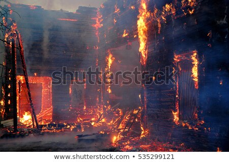 fire in building flames from office windows arson home burn f stock photo © popaukropa