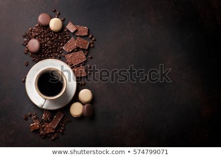 kávé · macaronok · csésze · fehér · zöld · kék - stock fotó © karandaev