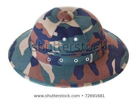 Camouflage Pith Helmet Isolated White Side View Stock photo © Qingwa