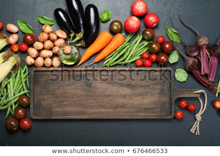 Foto stock: Green Beans On Wooden Cutting Board Top View
