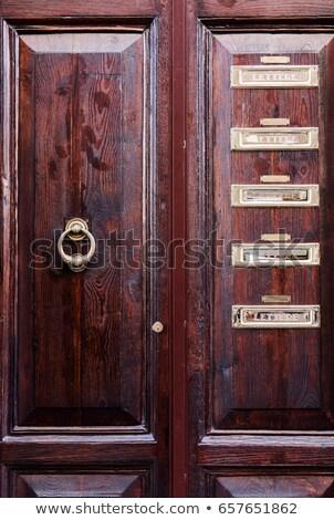 mailbox · groene · ijzer · deur · oude · houten - stockfoto © lenaivanova