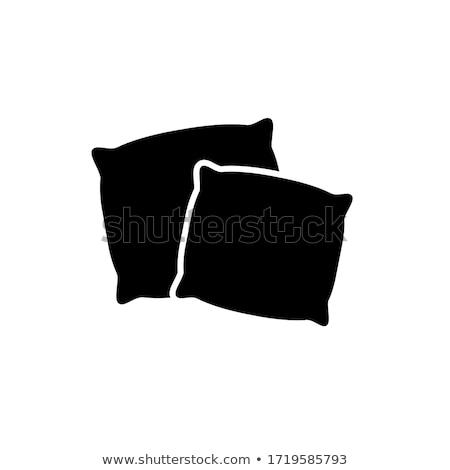 Zdjęcia stock: Czarno · białe · poduszkę · meble · kolor · biały · wzór