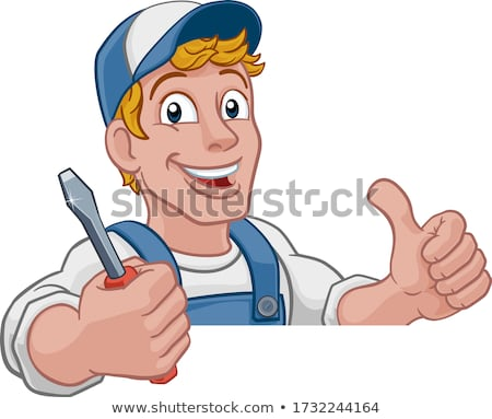 Eletricista handyman chave de fenda desenho animado homem Foto stock © Krisdog