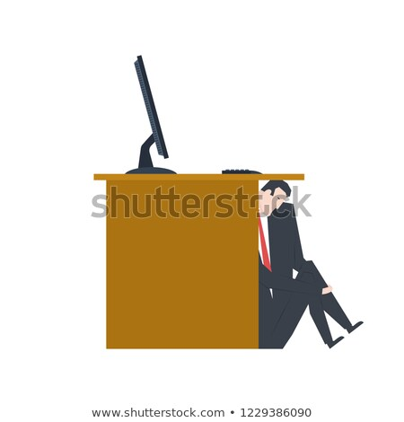 Businessman is hiding under table. manager is lurk from boss. Ve Stock photo © MaryValery