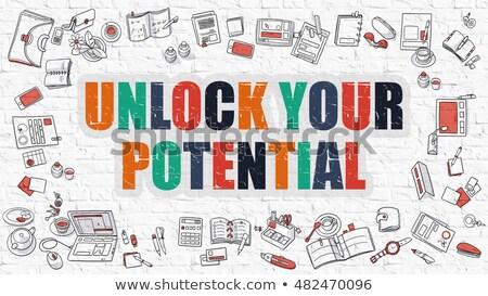 Unlock Your Potential Concept with Doodle Design Icons. Stock photo © tashatuvango