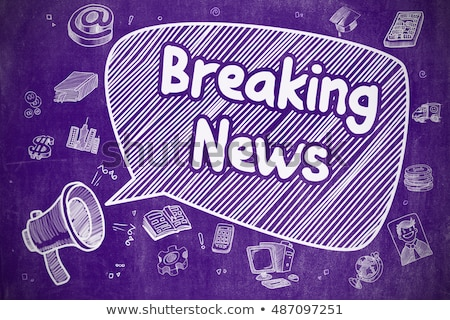 Breaking news doodle illustratie paars schoolbord business Stockfoto © tashatuvango