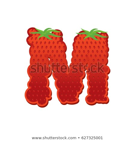 Letter M Strawberry font. Red Berry lettering alphabet. Fruits A Stock photo © popaukropa