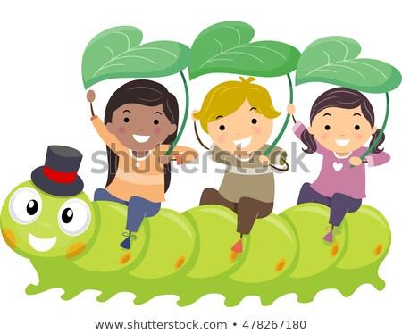 дети саду Caterpillar иллюстрация верховая езда девушки Сток-фото © lenm