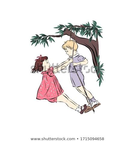 Ninos Pareja swing fecha romántica ilustración Foto stock © lenm