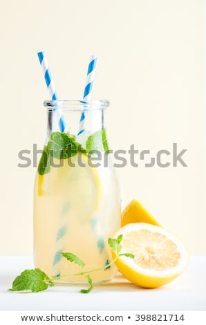 Stilleven citroenen limonade jar voedsel glas Stockfoto © IS2