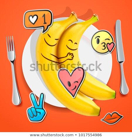 2 面白い バナナ 顔 愛 顔文字 ストックフォト © ikopylov