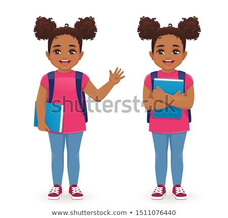 Aranyos fekete iskolás lány iskola oktatás táska Stock fotó © zkruger