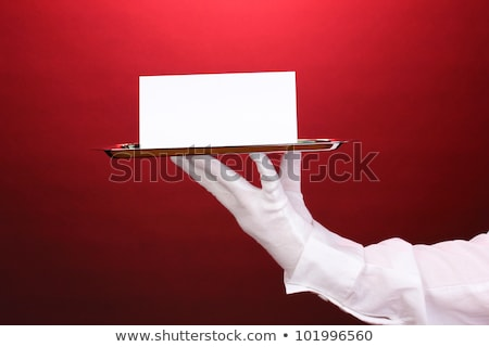 Female hand holds stainless steel catering tray Stock photo © DenisMArt