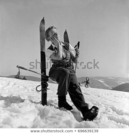 Narciarz przerwie zimą narciarskie uśmiechnięty Zdjęcia stock © IS2