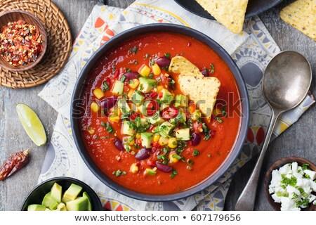 Mexican zupa pomidorowa awokado kukurydza oliwy gotowania Zdjęcia stock © glorcza