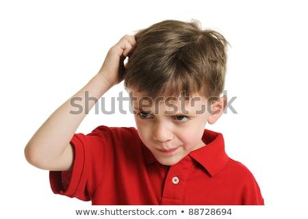 confuso · criança · retrato · duvido · feliz · criança - foto stock © rastudio