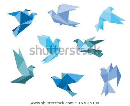 Kék origami madár művészet ikon galamb Stock fotó © MarySan