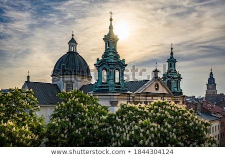 Krakkó óváros sziluett város Lengyelország bazilika Stock fotó © rognar