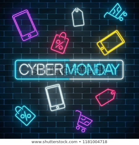 cyber monday sale discount poster or banner with shiny emblem lines and triangles stock photo © swillskill