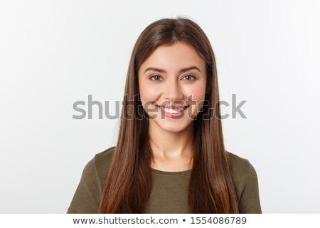 肖像 · 笑みを浮かべて · ブルネット · 着用 · 白 · ジャケット - ストックフォト © acidgrey
