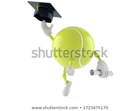 érettségi sapka teniszlabda 3D 3d render illusztráció Stock fotó © djmilic