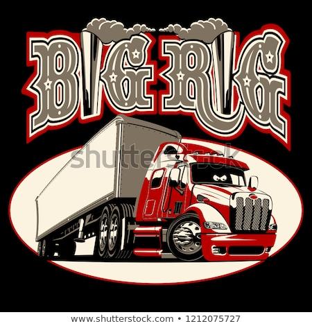 Vector Cartoon Semi Truck With Vintage Lettering Poster Stock fotó © Mechanik