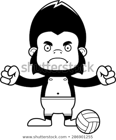 Cartoon Angry Beach Volleyball Player Gorilla Stock photo © cthoman