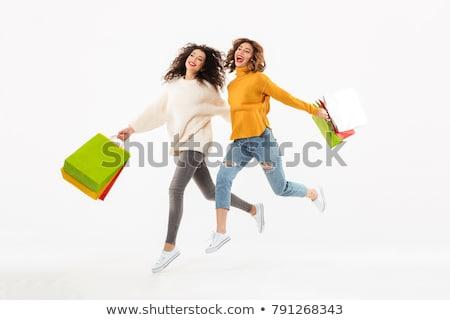 twee · gelukkig · jonge · studenten · meisjes - stockfoto © deandrobot