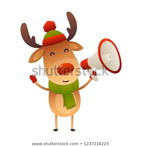 トナカイ メガホン 孤立した 幸せ 背景 帽子 ストックフォト © ori-artiste